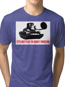 canon cannon better to shot photos Tri-blend T-Shirt
