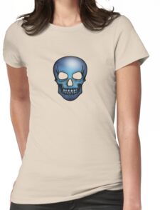 Blue Skull Pattern Womens Fitted T-Shirt