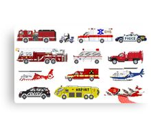 Emergency Vehicles - The Kids' Picture Show - 8-Bit Canvas Print