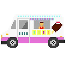 Ice Cream Truck - The Kids' Picture Show - 8-Bit Photographic Print