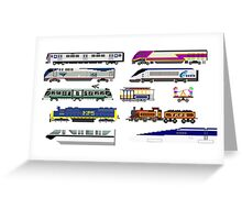 Railway Vehicles - The Kids' Picture Show - 8-Bit Trains Greeting Card
