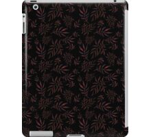 Floral pattern with leaves and branches on black background iPad Case/Skin