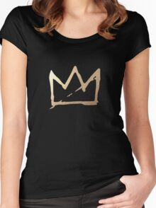 Gold Basquiat Crown Women's Fitted Scoop T-Shirt