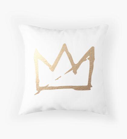 Gold Basquiat Crown Throw Pillow