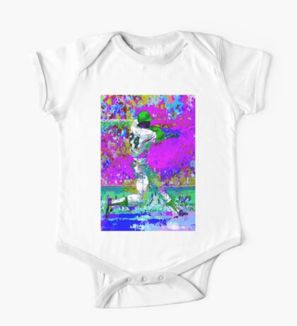 BASEBALL PLAYER; Psychedelic Whimsical Art Print One Piece - Short Sleeve