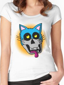 Zombie Cat head graphic Women's Fitted Scoop T-Shirt