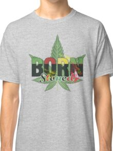 Born stoned - Unisex Stoners Typography With Vintage Weed Leaf Classic T-Shirt