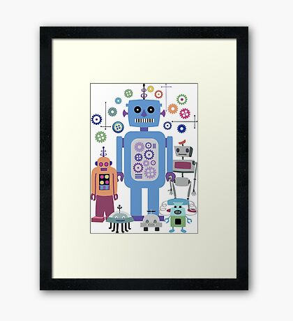 Retro Robots for Sci-fi Nerds and Geeks Framed Print