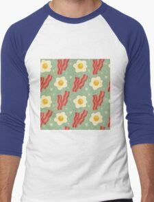 Bacon and eggs,food,food hipster,breakfast,hipster,trendy,modern,cool,pattern Men's Baseball ¾ T-Shirt