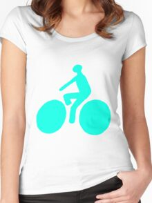 Turquoise bike Women's Fitted Scoop T-Shirt
