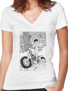 Akira Kaneda Biker Women's Fitted V-Neck T-Shirt