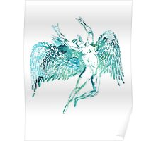 ICARUS THROWS THE HORNS - blue watercolor NEW DESIGN Poster