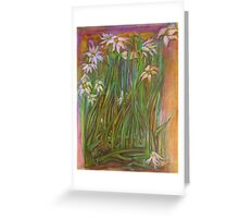 Flowers in the Garden at Sunset Greeting Card