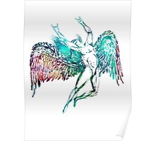 ICARUS THROWS THE HORNS - WATERCOLOR Poster