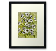 Happy Daisies Ink and Watercolor Painting Framed Print
