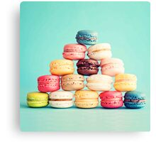 French,macarons,turquoise, background,cookies,elegant,chic,girly,food hipster Canvas Print