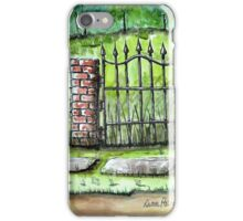 Old Iron Gate Ink and Watercolor Painting iPhone Case/Skin