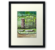 Old Iron Gate Ink and Watercolor Painting Framed Print