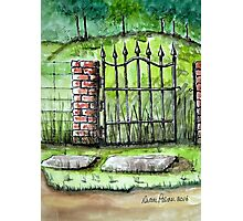 Old Iron Gate Ink and Watercolor Painting Photographic Print