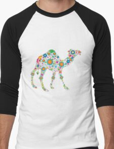 Cute Colorful Retro Floral Camel Men's Baseball ¾ T-Shirt