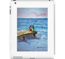 Kids Fishing Off the Dock Ink and Watercolor Painting iPad Case/Skin