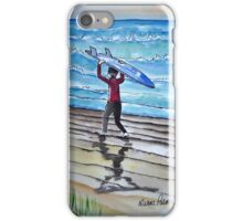 Surf is Up Ink and Watercolor Painting iPhone Case/Skin