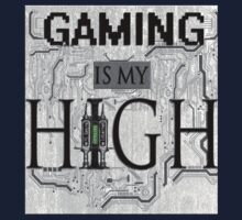 Gaming is my HIGH- Black text/GreyBackground One Piece - Long Sleeve