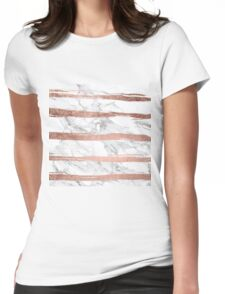 Modern chic faux rose gold brush stripes white marble Womens Fitted T-Shirt