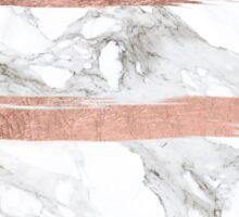Modern chic faux rose gold brush stripes white marble Sticker