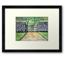Dry Stack Old Stone Wall Ink and Watercolor Painting Framed Print
