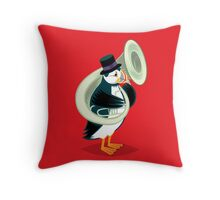 Puffin On A Tuba Throw Pillow