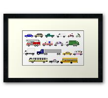Street Vehicles - The Kids' Picture Show - 8-bit Framed Print