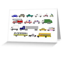 Street Vehicles - The Kids' Picture Show - 8-bit Greeting Card