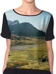 Alpine Greina High Plain on Sunny Summer Day (Grisons, Switzerland) Chiffon Top