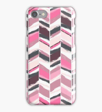 Geometric pink gray boho herringbone chevron pattern iPhone Case/Skin