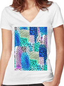 Colorful watercolor block hand drawn pattern Women's Fitted V-Neck T-Shirt