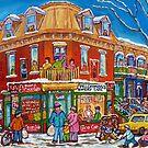 CLASSIC PLATEAU MONT ROYAL CORNER STORE MONTREAL WINTER SCENE by Carole  Spandau