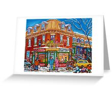 CLASSIC PLATEAU MONT ROYAL CORNER STORE MONTREAL WINTER SCENE Greeting Card