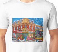 CLASSIC PLATEAU MONT ROYAL CORNER STORE MONTREAL WINTER SCENE Unisex T-Shirt
