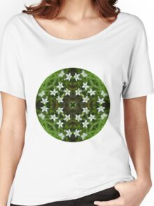 Circle 5: Flowers of White, Leaves of Green Women's Relaxed Fit T-Shirt