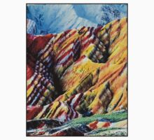 CHINA; Colored Painted Mountains Print One Piece - Short Sleeve