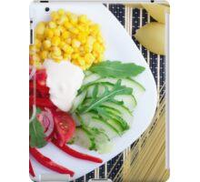 Vegetarian dish of raw vegetables and mozzarella  iPad Case/Skin