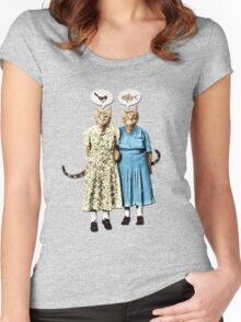 Two Cool Kitties: What's for Lunch? Women's Fitted Scoop T-Shirt