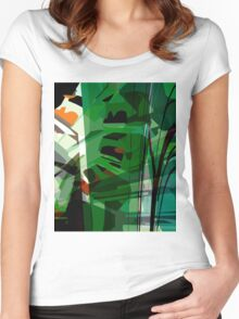 Greeny leafy graphic design Women's Fitted Scoop T-Shirt