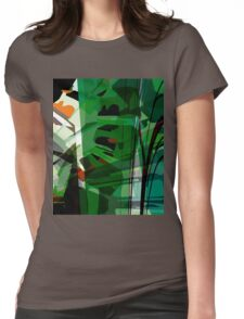 Greeny leafy graphic design Womens Fitted T-Shirt