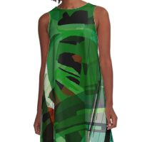 Greeny leafy graphic design A-Line Dress
