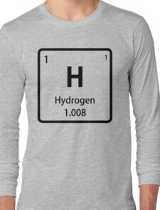 Black Hydrogen Element Tile - Periodic Table Long Sleeve T-Shirt