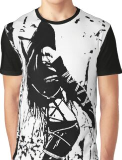 Sexy Goth Girl in Shibari Bondage Pose, black and white Graphic T-Shirt