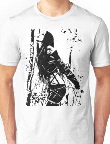 Sexy Goth Girl in Shibari Bondage Pose, black and white Unisex T-Shirt