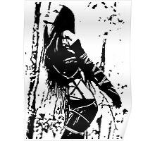 Sexy Goth Girl in Shibari Bondage Pose, black and white Poster
